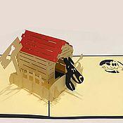 Открытки handmade. Livemaster - original item Dog in the booth - 3D handmade greeting card. Handmade.