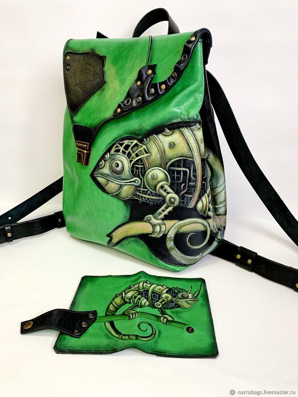 """Кожаный рюкзак """"Зеленый хамелеон"""", Рюкзаки, Подольск, Фото №1"""