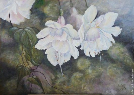 """Картины цветов ручной работы. Ярмарка Мастеров - ручная работа. Купить Картина """"Белая Фуксия"""". Handmade. Белый, сиреневый, лучи"""