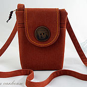 handmade. Livemaster - original item The purse for the phone, Walking around Saint-Petersburg red. Handmade.