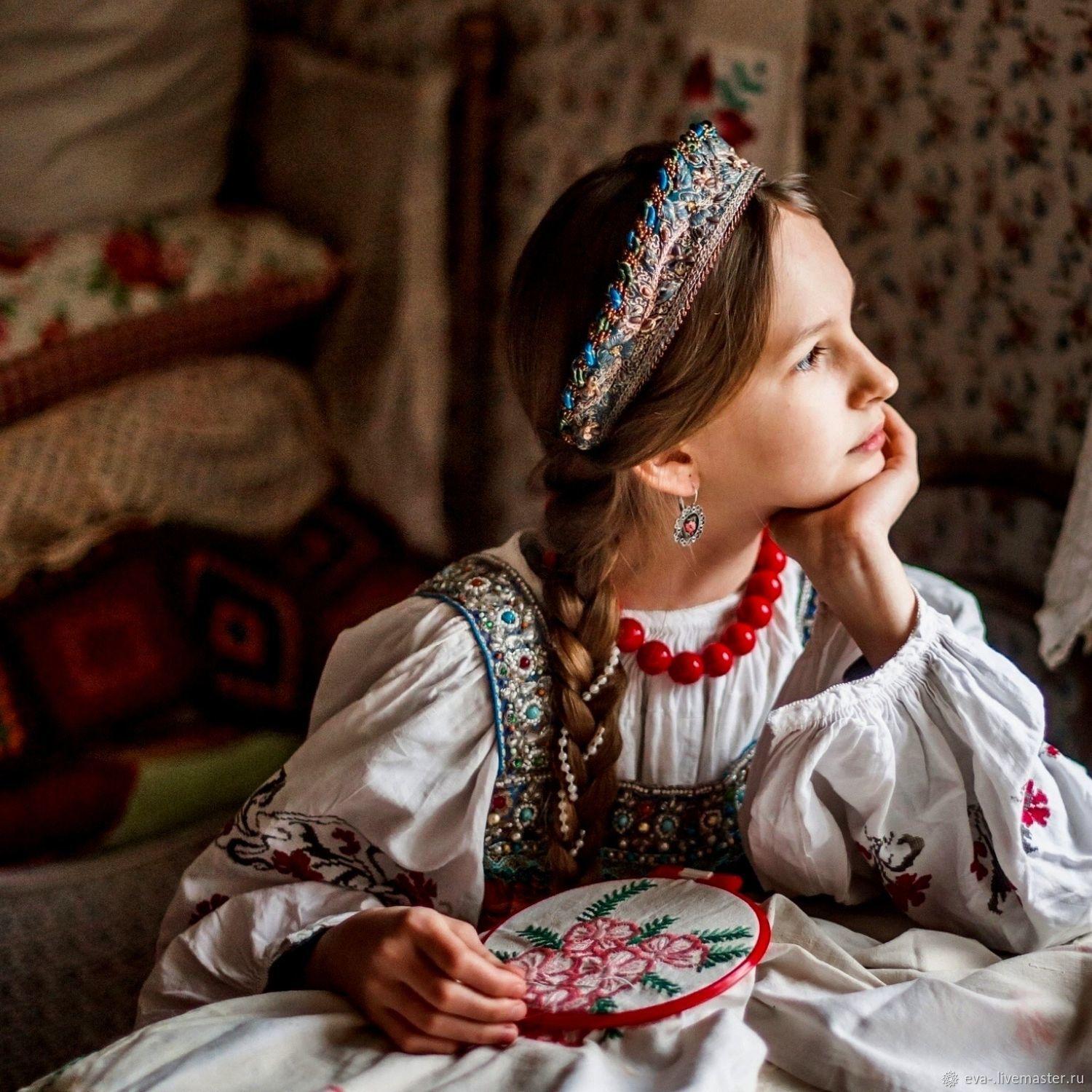 Ободок -кокошник Незабудки, Ободки, Москва,  Фото №1