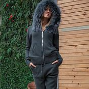 Одежда handmade. Livemaster - original item A cashmere suit with a hood and trimmed from Arctic Fox, Sea wave. Handmade.