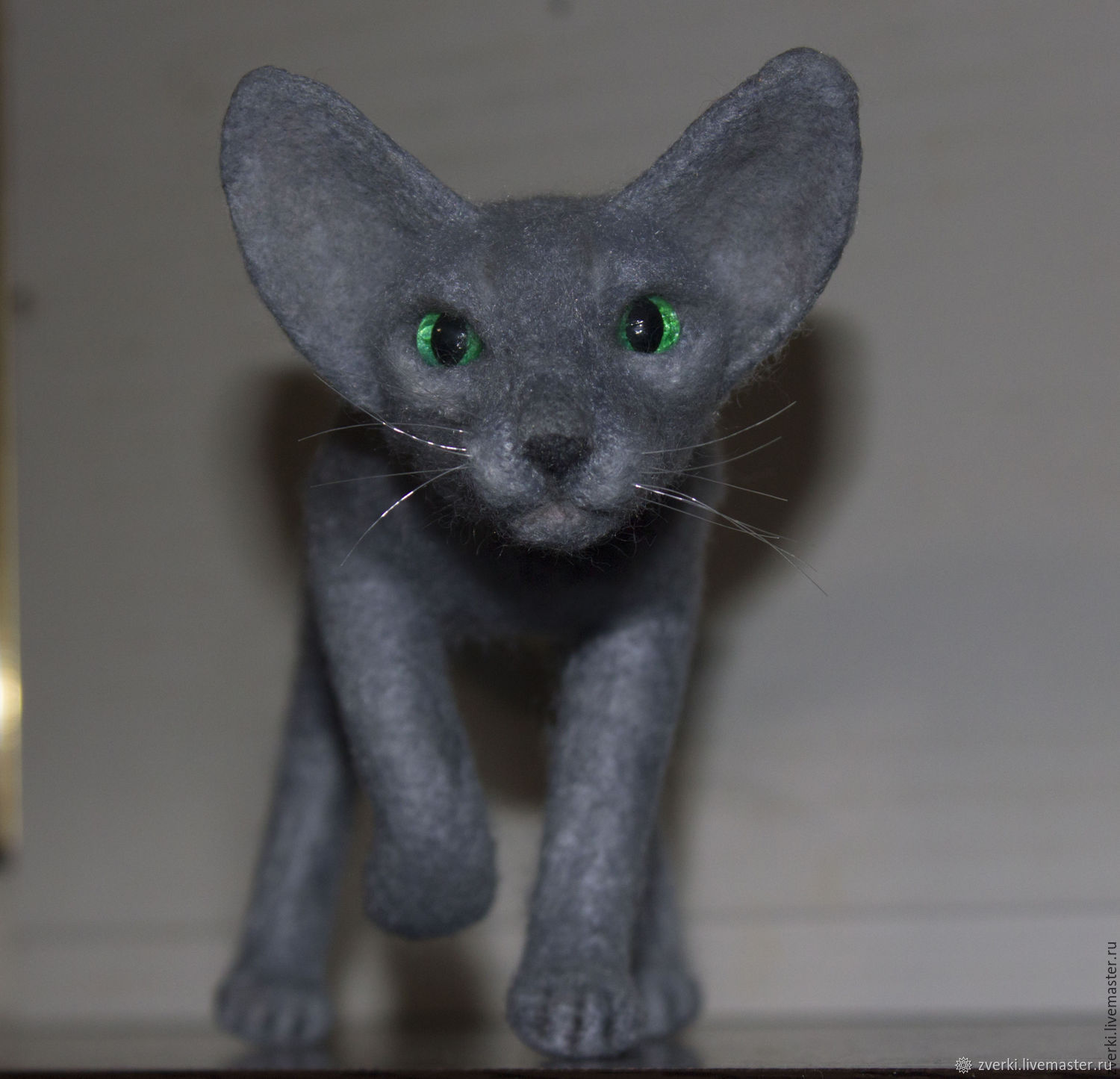 Oriental kitten of gray color with green eyes, Felted Toy, Moscow,  Фото №1