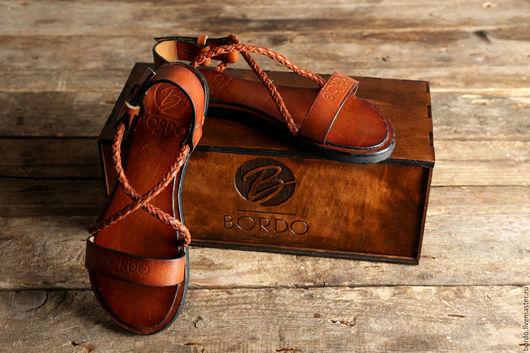 Обувь ручной работы. Ярмарка Мастеров - ручная работа. Купить Мужские сандалии из кожи. Женские сандалии из кожи. Рыжие сандалии. Handmade.