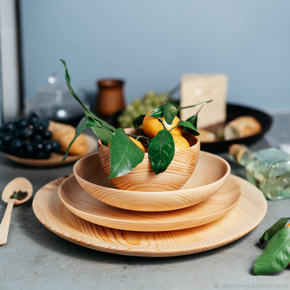 Set of wooden plates for serving of Siberian Cedar TN46, Tureens, Novokuznetsk,  Фото №1