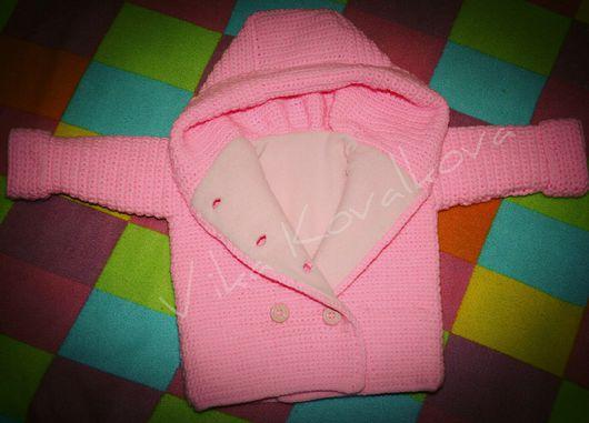 Одежда для девочек, ручной работы. Ярмарка Мастеров - ручная работа. Купить Розовый жакет на флисе с капюшоном. Handmade. Куртка с капюшоном