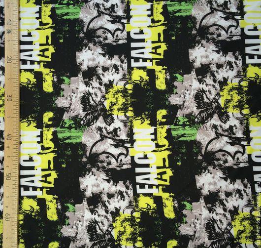 Ткань курточная 240Т PONGEE WR PU MILKY. Рисунок `Falkon салатовый`