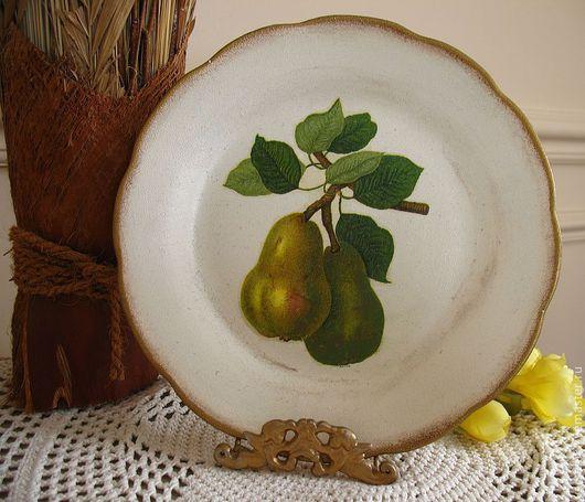 Тарелки ручной работы. Ярмарка Мастеров - ручная работа. Купить Настенная тарелка Груша. Handmade. Тарелка декоративная, прованс, фрукты