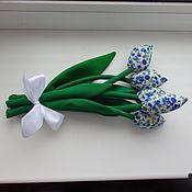 Подарки к праздникам ручной работы. Ярмарка Мастеров - ручная работа Текстильные цветы подарок к празднику тюльпаны на 8 марта. Handmade.