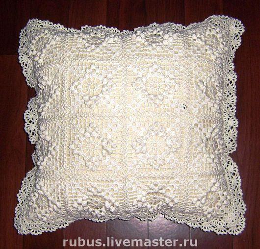 Текстиль, ковры ручной работы. Ярмарка Мастеров - ручная работа. Купить Козье молоко. Handmade. Вязаная подушка, прованс