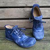 Обувь ручной работы. Ярмарка Мастеров - ручная работа Кожаные ботинки БРОГИ синие. Handmade.