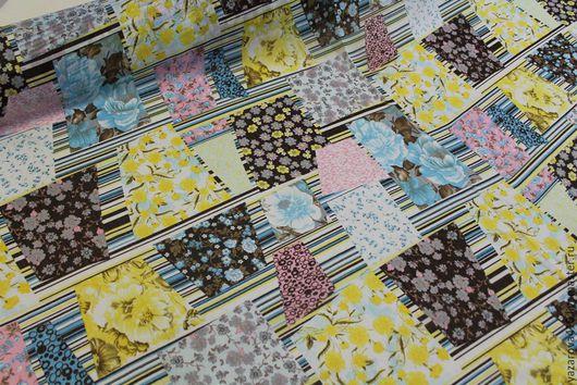 """Шитье ручной работы. Ярмарка Мастеров - ручная работа. Купить Ткань,креш-шифон,с рисунком""""пэчворк""""-разноцветные цветочки ,Корея. Handmade."""