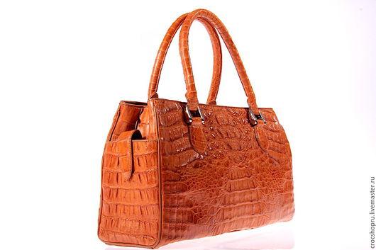 Женские сумки ручной работы. Ярмарка Мастеров - ручная работа. Купить Сумка из кожи крокодила. Handmade. Рыжий, большая сумка