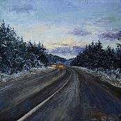 Pictures handmade. Livemaster - original item Oil painting road in the Evening. 35h45 cm. Handmade.