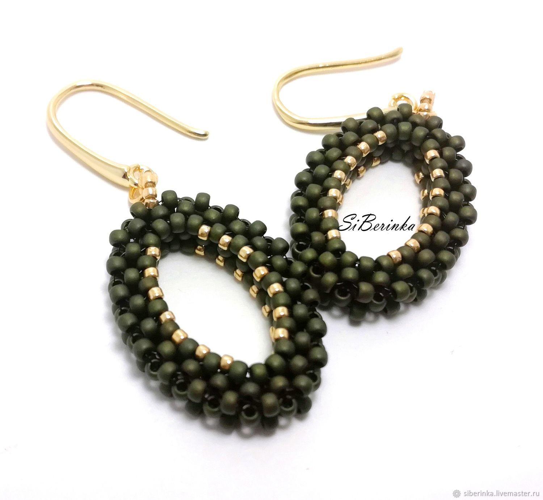 """Khaki oval shaped beaded earrings """"Bella"""", Earrings, Divnogorsk,  Фото №1"""