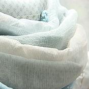 """Палантины ручной работы. Ярмарка Мастеров - ручная работа Палантин """"Небо Рафаэля"""". Шелк KENZO. Розочки. Небесно голубой. Handmade."""