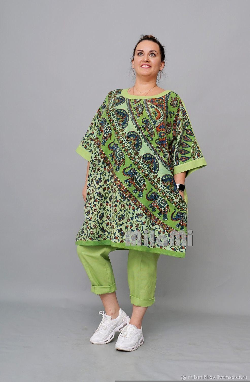 Tunic straight combined, 'Indian elephants' green. Art.4404, Tunics, Kirov,  Фото №1