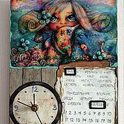 Watch handmade. Livemaster - original item A wall clock-calendar LITTLE GIRL BY THE SEA. Handmade.
