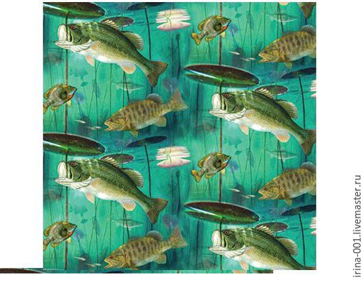 Шитье ручной работы. Ярмарка Мастеров - ручная работа. Купить Рыбалка.Панель хлопок  60х110 см. Handmade. Хлопок для шитья