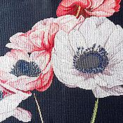 Картины и панно ручной работы. Ярмарка Мастеров - ручная работа Анемоны, вышитая картина, розовый, черный фон, большие нежные цветы. Handmade.