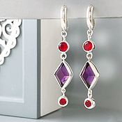 Украшения handmade. Livemaster - original item Earrings long silver, purple, red, stones. Handmade.