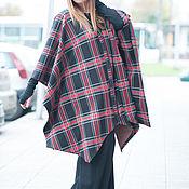 Одежда ручной работы. Ярмарка Мастеров - ручная работа Плащ в клетку из хлопка с шерстью, демисезонное пальто. Handmade.
