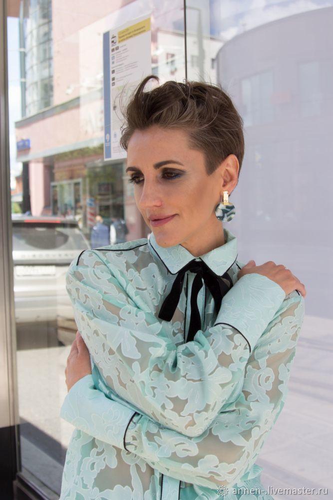 """Блузка-рубашка """"Ментол"""" с кантиком, Блузки, Москва, Фото №1"""