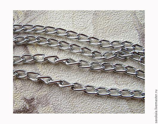 Цепь 6 x 3.5 mm, алюминий, посеребренная Для браслета, для колье, для оформления украшений