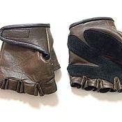Митенки ручной работы. Ярмарка Мастеров - ручная работа Перчатки из кожи без пальцев, кожаные перчатки для водителя, митенки. Handmade.