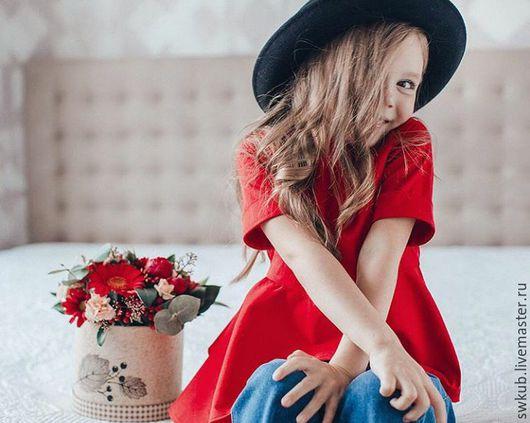 Одежда для девочек, ручной работы. Ярмарка Мастеров - ручная работа. Купить Красная кофта для девочки.. Handmade. Ярко-красный, кофточка