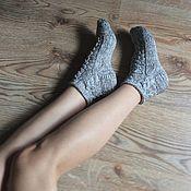 """Аксессуары ручной работы. Ярмарка Мастеров - ручная работа Хлопковые носки  """"Серый меланж"""". Handmade."""
