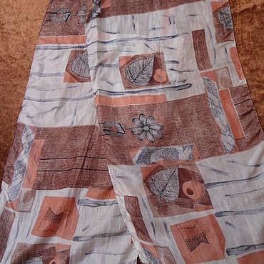 Винтаж ручной работы. Ярмарка Мастеров - ручная работа Винтаж: Шарф с принтом,100% шелк,Индия. Handmade.