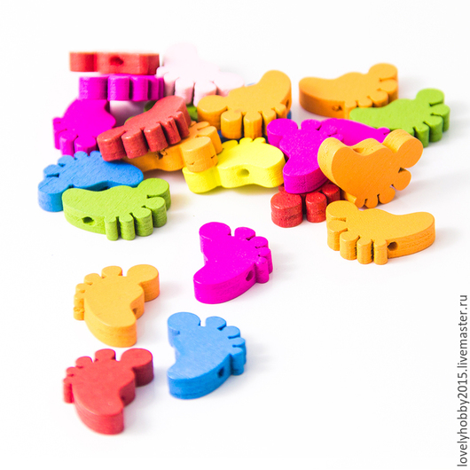 разноцветные деревянные НОЖКИ-СЛЕДОЧКИ (розовые, зеленые, синие, желтые , оранжевые)