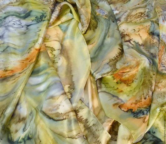 Шали, палантины ручной работы. Ярмарка Мастеров - ручная работа. Купить Шелковый шарф батик Секрет Дриады. Handmade. Разноцветный