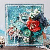 Открытки handmade. Livemaster - original item Postcard Turquoise and coral. Handmade.