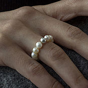 Украшения handmade. Livemaster - original item Elastic band ring natural pearl, silver. Handmade.