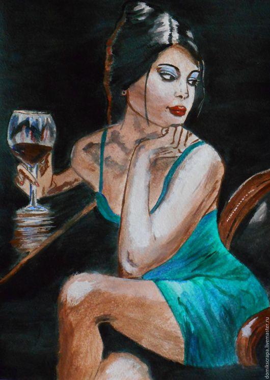 """Люди, ручной работы. Ярмарка Мастеров - ручная работа. Купить Картина """"В баре"""". Handmade. Живопись, люди, картина для интерьера"""