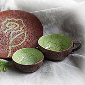 """Посуда ручной работы. Ярмарка Мастеров - ручная работа Комплект посуды для чаепития """"Весенняя листва"""". Handmade."""