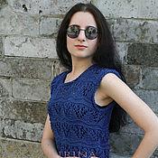 Одежда handmade. Livemaster - original item Dark blue cotton top. Handmade.