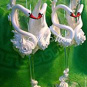 """Свадебный салон ручной работы. Ярмарка Мастеров - ручная работа Бокалы """" Их величество лебеди """". Handmade."""