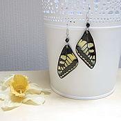 Украшения handmade. Livemaster - original item Transparent Earrings Pink Black Yellow Butterfly Wings Gothic. Handmade.