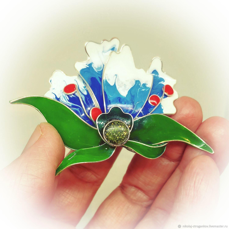 Brooch-pin: Brooch, Tropical flower_#1, Brooches, Karlsruhe,  Фото №1