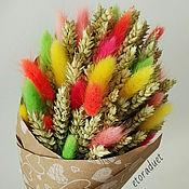Цветы и флористика ручной работы. Ярмарка Мастеров - ручная работа Букет с пшеницей и ярким лагурусом. Handmade.
