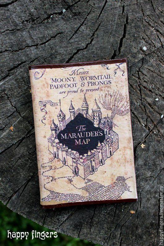 """Обложки ручной работы. Ярмарка Мастеров - ручная работа. Купить Кожаная обложка на паспорт """"Гарри Поттер"""" Harry Potter карта мародеров. Handmade."""