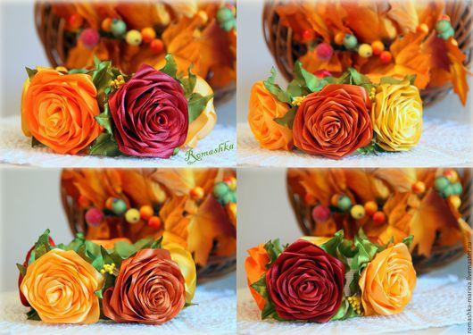 `Осенние цветы`из серии осенние мотивы- украшение на пучок. Розы в осенних красках выполнены из атласной ленты в стиле канзаши
