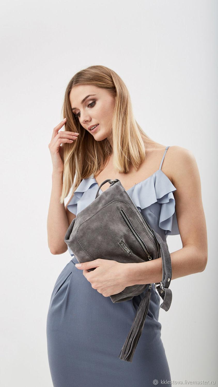 Bag Crossbody grey suede shoulder bag suede, Crossbody bag, Moscow,  Фото №1