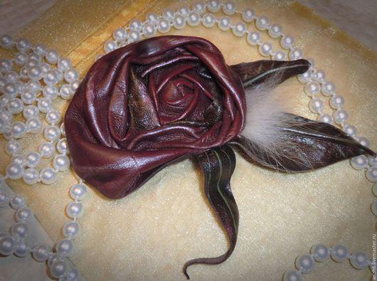 """Броши ручной работы. Ярмарка Мастеров - ручная работа. Купить Брошь """"Роза"""". Handmade. Бордовый, брошь ручной работы"""