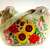 Сумки и аксессуары handmade. Livemaster - original item Large fabric bag, embroidered bag, bright summer bag, gift. Handmade.