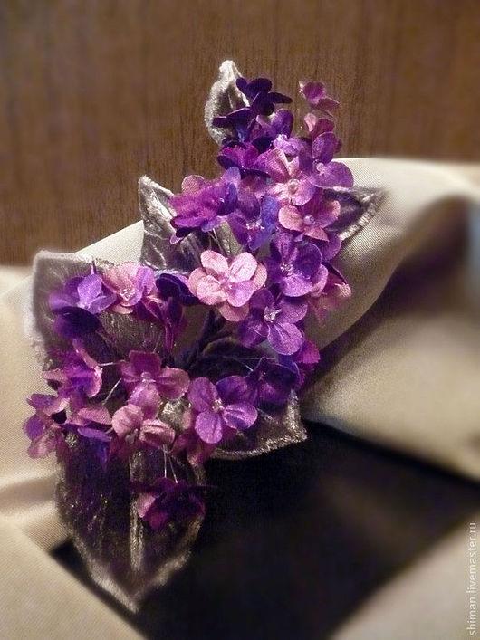 """Броши ручной работы. Ярмарка Мастеров - ручная работа. Купить Цветы из шелка """"Сирень фиолетовая"""". Handmade. Фиолетовый, авторская работа"""