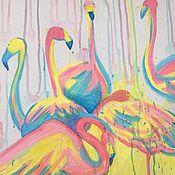 Картины ручной работы. Ярмарка Мастеров - ручная работа Картина акриловыми красками на холсте «Фламинго». Handmade.